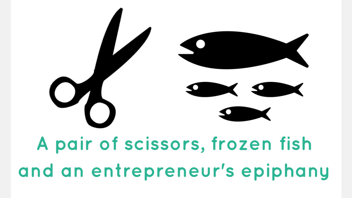 Frozen fish, a pair of scissors and an (1)